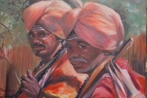 Indian Men portrait in oil