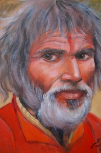 Old Indian Man portrait in oil