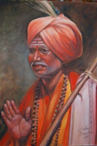 Elder Indian Man portrait in oil