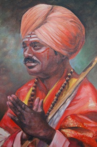 Young Indian Praying portrait in oil