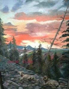 Big Horned Sheep at Sunset